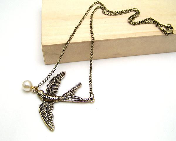 波西米亚复古燕子 珍珠项链|韩国饰品批发|银饰批发