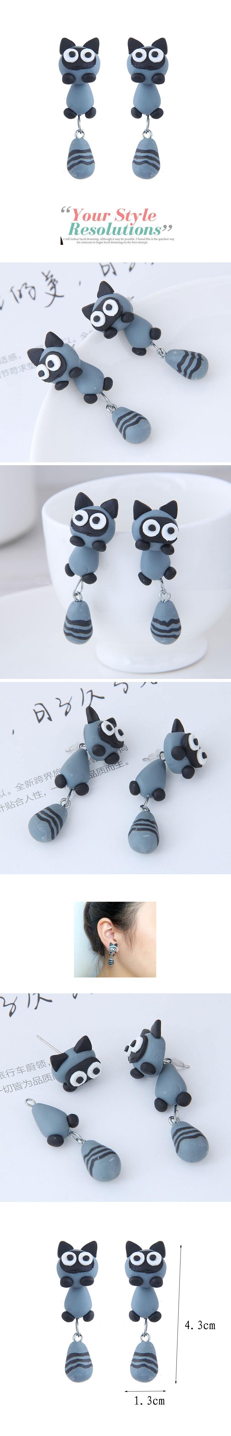 欧美时尚创意手工可爱小动物猫咪软陶泥个性耳钉