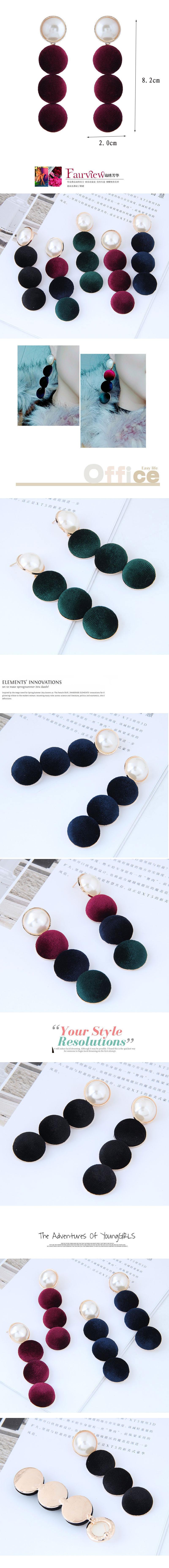 Fashion metal simple wild pearl velvet earrings NHSC199719