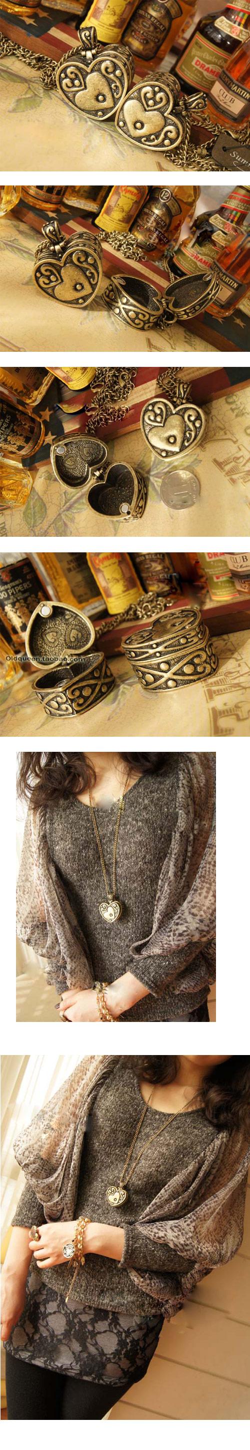 韩版时尚潘多拉盒子 复古质感雕花桃心盒子长款项链(已售完)
