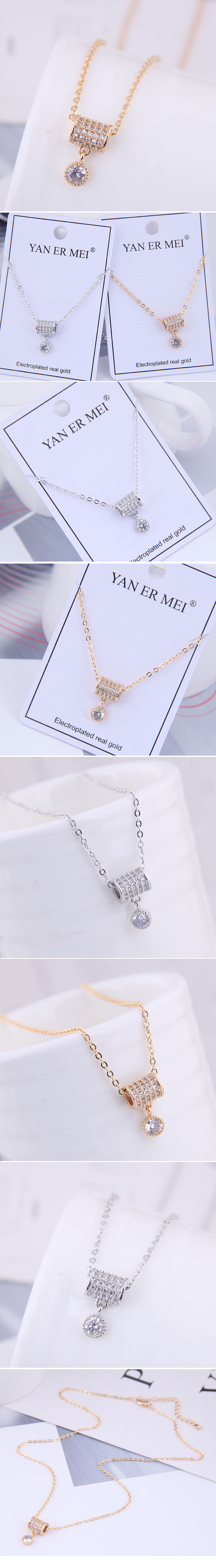 Copper & Zircon Necklace Korea NHSC200145