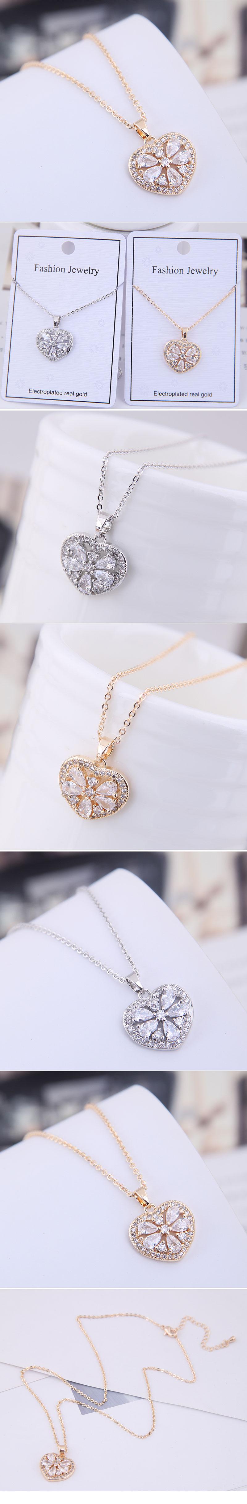 Copper  Zircon Necklace Korea NHSC200143