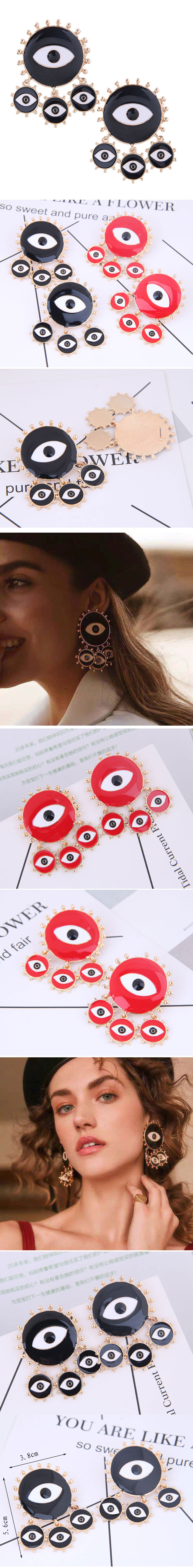 Fashion metal exaggerated devil's eye stud earrings NHSC180150