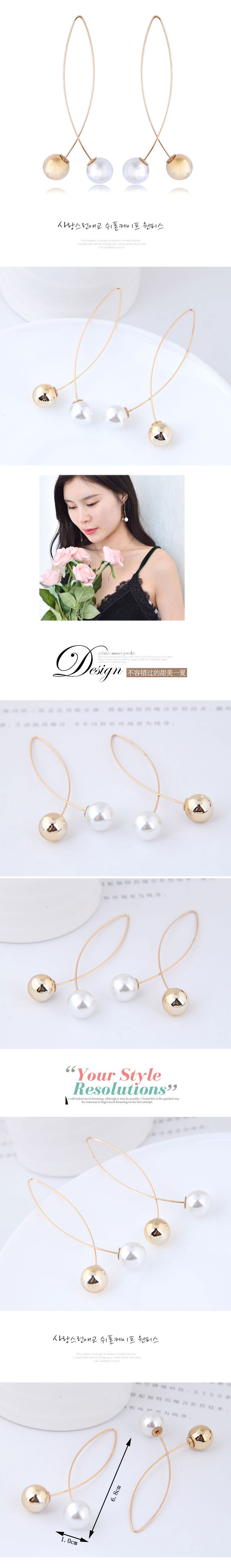 European and American fashion wild metal pearl personality simple earrings earrings NHSC176557